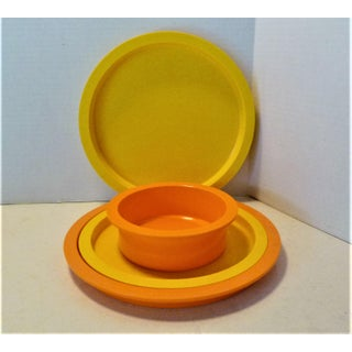 1970s Gunnar Cyren for Dansk Designs Orange and Yellow Melamine Dishes - 33 Pieces Preview