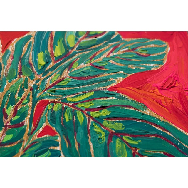 Lara Lee Meintjes Green and Pink Prayer Plant on Red and Orange in Blue and White Lions, Tigers and Bears Pot on Swan Floral Cloth Painting For Sale - Image 4 of 5