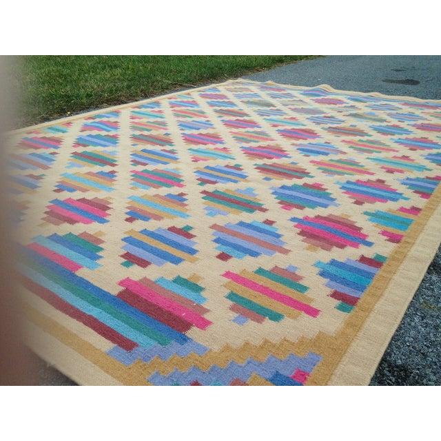 Flat Woven Wool Kilim Rug- 6' x 9' - Image 3 of 10