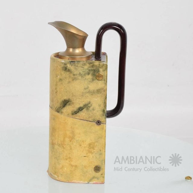 Gold Aldo Tura Wood & Brass Pitcher For Sale - Image 8 of 10