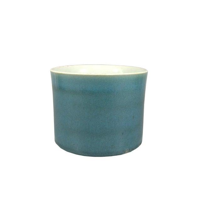 Blue Antique Chinese Blue Glaze Brush Pot/Bitong For Sale - Image 8 of 8