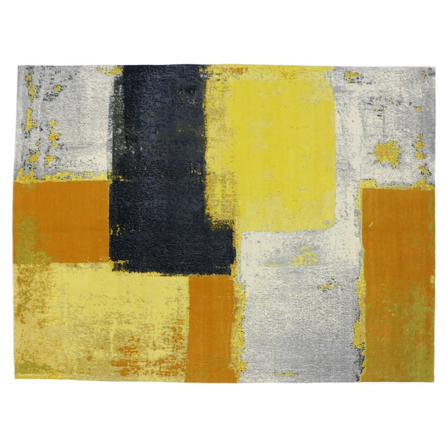 """Blue Modern Style Contemporary Abstract Color Block Rug - 9' x 12'1"""" For Sale - Image 8 of 8"""