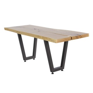 Live Edge Solid Oak Slab Coffee Table For Sale
