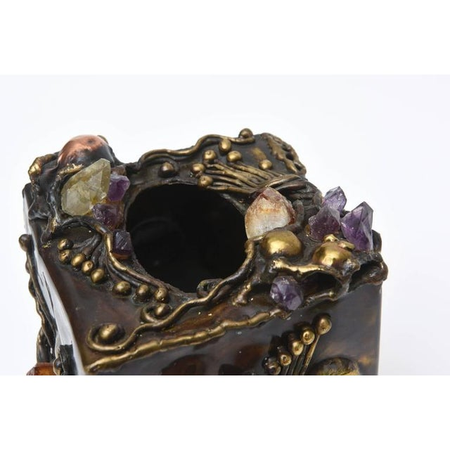 Amethyst Brutalist Sculptural Mixed Metal and Amethyst, Quartz Tissue Box/ SAT.SALE For Sale - Image 7 of 10