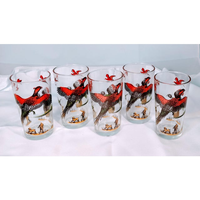 Hazel-Atlas Hazel Atlas Mid-Century Modern Pheasant Hunting Glasses - Set of 5 For Sale - Image 4 of 8