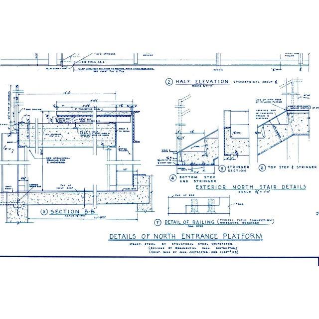 1950s Mies Van Der Rohe Blueprint, Crown Hall, Chicago, 1954, North Platform For Sale - Image 5 of 13