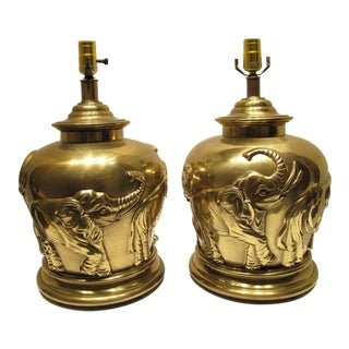 1970s Vintage Frederick Cooper Large Brass Lamps Embossed With Elephants - a Pair For Sale