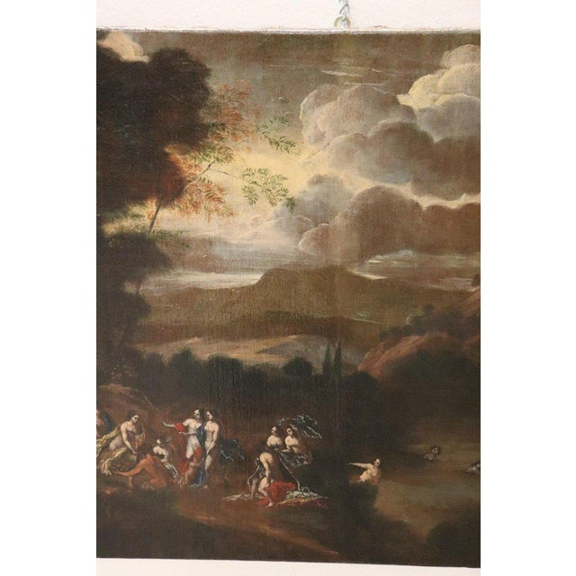 Illustration 17th Century Italian Oil Painting on Canvas, Landscape With Figures For Sale - Image 3 of 13