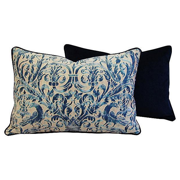 Custom Designer Italian Fortuny Uccelli Feather/Down Pillow (One Pillow) - Image 8 of 10