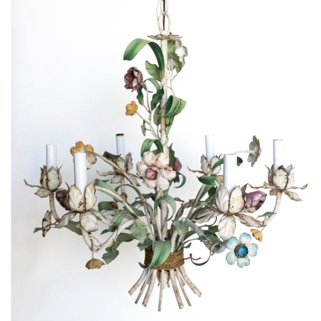 Green Vintage Shabby Tole Flower Chandelier For Sale - Image 8 of 9