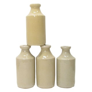 Antique English Pottery Jars, S/4 For Sale