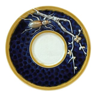 Rare Majolica Pin Tray With Insect & Branches Choisy Le Roi Circa 1890 For Sale