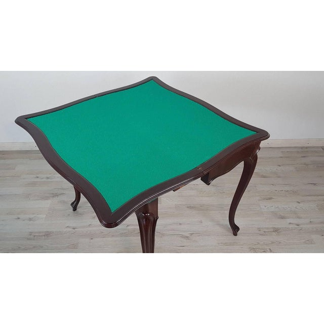 Brown 19th Century Italian Louis XV Style Rosewood Game Table For Sale - Image 8 of 10