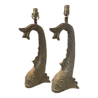 Vintage Dolphin Motif Wooden Lamps - a Pair For Sale