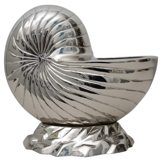 Nickle Plated Nautilus Shell Cachepot For Sale