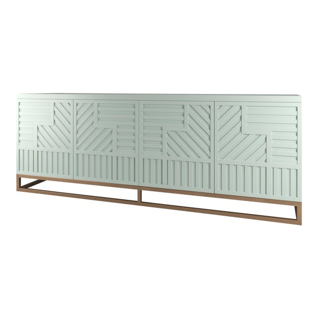 Stria Credenza - Brushed Brass Base, Turquoise Mist For Sale