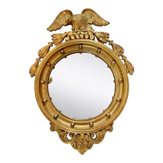 Antique 19th Century Carved Giltwood Convex Eagle Mirrors For Sale