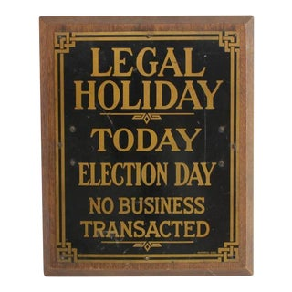 "1910s ""Legal Holiday"" Brass Bank Sign For Sale"
