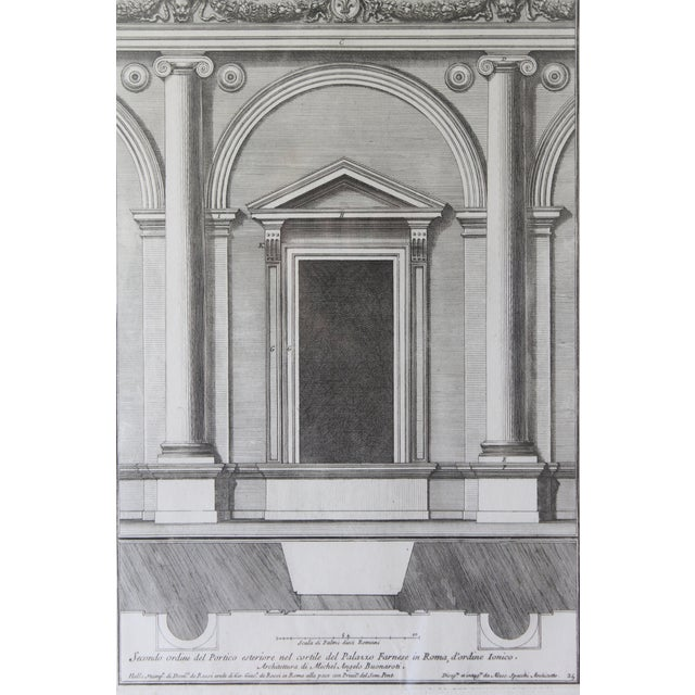 Early 19th Century Antique Architectural Portico of the Palace Fornese Rome Print For Sale - Image 4 of 11