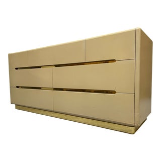 80s Seven Drawer Brass Plinth Dresser by Lane For Sale