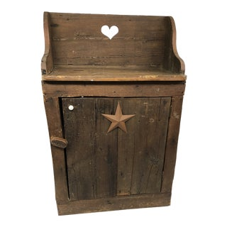 Vintage Rustic Wood Country Cupboard For Sale