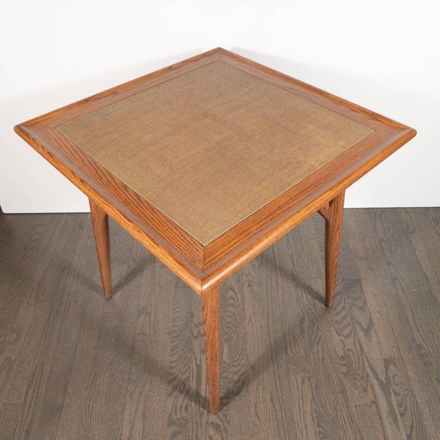Wood Mid-Century Modern Sculptural White Oak Table With Wrapped Linen Top For Sale - Image 7 of 10