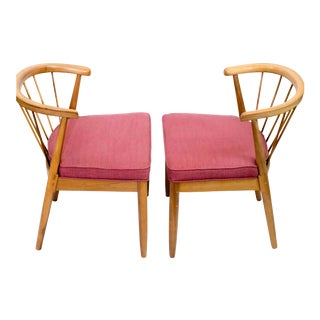 American of Martinsville Captain's Red Upholstered Dining Chairs - Set of 4 For Sale