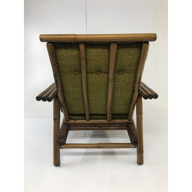 Mid Century Boho Chic Bamboo Lounge Chair With Green Upholstery For Sale - Image 4 of 13