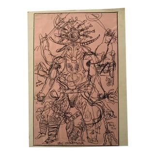 Vintage Folk Art Drawing of Minotaur Signed Pemberton. Free Shipping For Sale