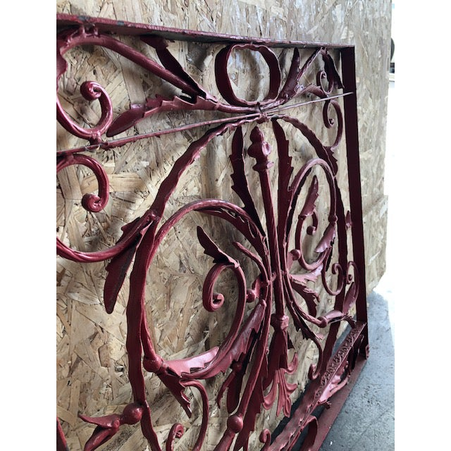 19th Century Vintage French Wrought Iron Grille For Sale In San Diego - Image 6 of 8