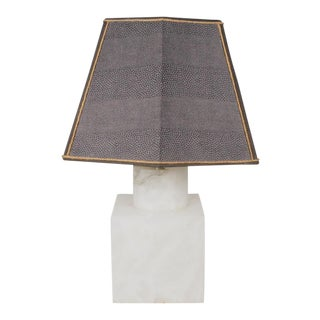 Mid-Century Modern White Marble Table Lamp For Sale