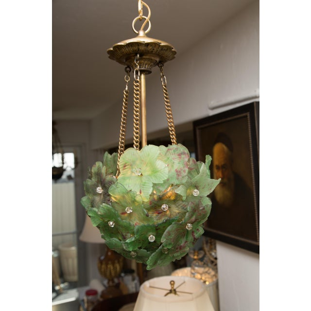 Unusual Light Pendant with Green Glass Florets - Image 6 of 6