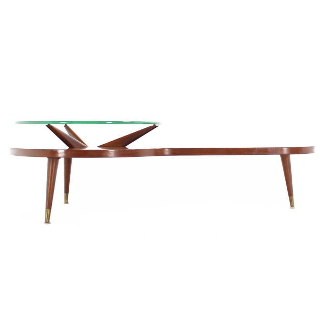 Wood Mid Century Modern Walnut Organic Kidney Shape Coffee Table Round Glass Top For Sale - Image 7 of 10