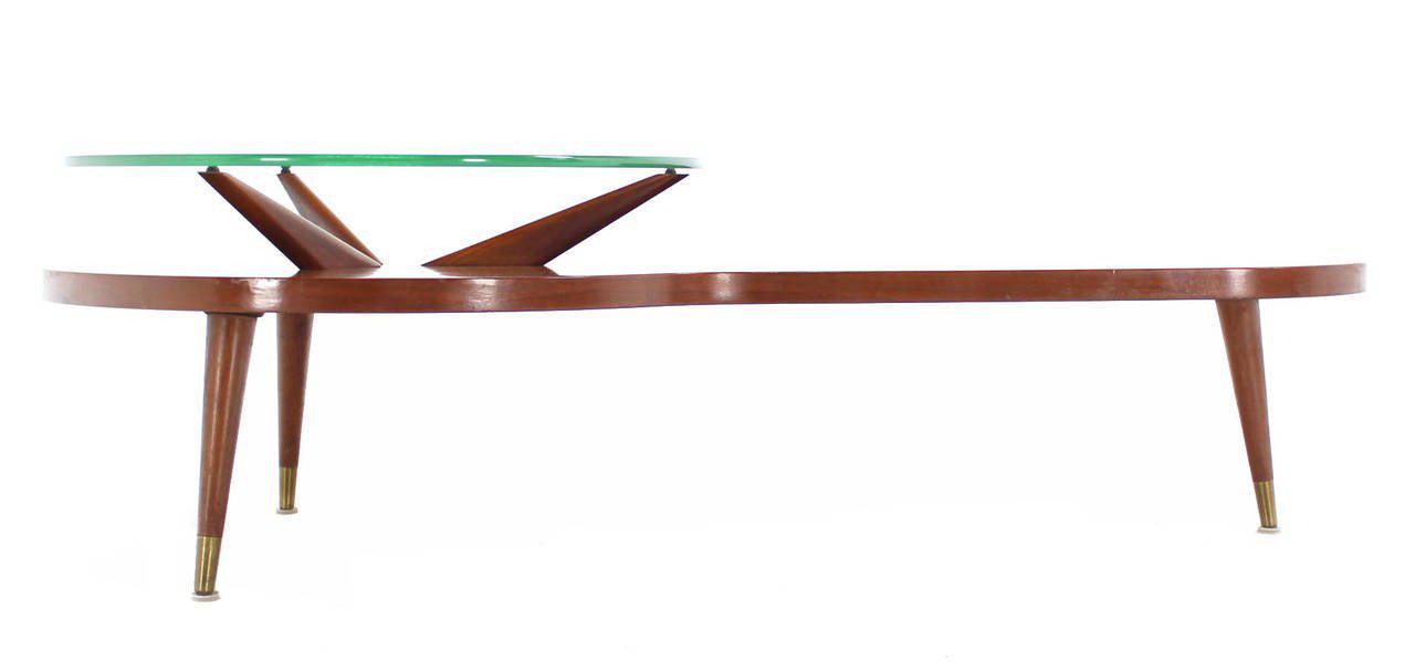 Mid Century Modern Walnut Organic Kidney Shape Coffee Table Round Glass Top    Image 7 Of