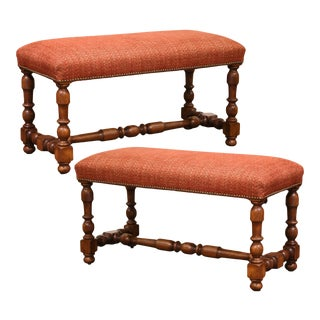 Pair of Mid-Century French Louis XIII Carved Oak Benches With Red Upholstery For Sale