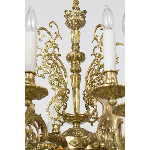 20th Century Traditional Sixteen Light Cast Brass Chandelier For Sale - Image 4 of 6