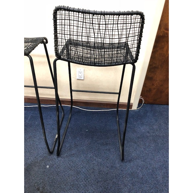 Contemporary CB2 Reed Bar Stools - A Pair For Sale - Image 3 of 6