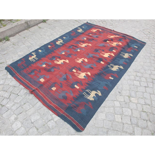 This is a one of kind high quality Naturel Vegetable Dyes old Nomadic Handmade Anatolia kilim. This kilim ready to use in...