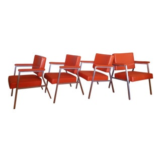 Vintage Mid Century Modern Steel Lounge Chairs - Set of 4 For Sale