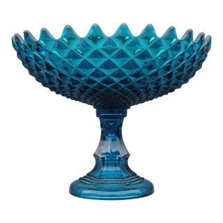 1940s Art Deco Era Blue Large Footed Fruit Bowl For Sale