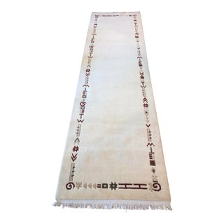 Ivory Tibetan Hand-Knotted Runner- 2′10″ × 10′0' For Sale