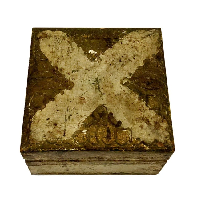 Wood Antique Small Turn of the Century Florentine Box For Sale - Image 7 of 7