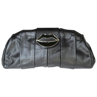2003 Yves Saint Laurent Black Dali Lips Clutch For Sale