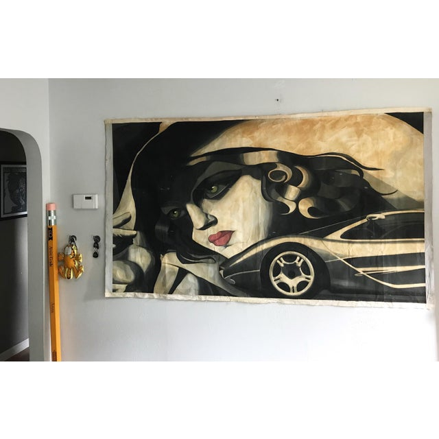 Amazingly well executed 1980s artistically updated rendition of a Tamara De Lempicka painting. This is an original acrylic...