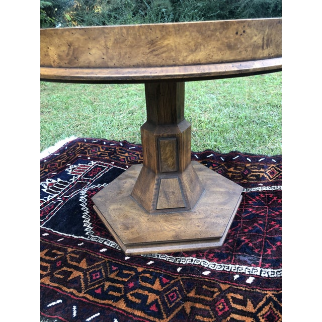 Mid Century Burlwood Pedestal Table With Inset Smoked Glass For Sale In Charleston - Image 6 of 12