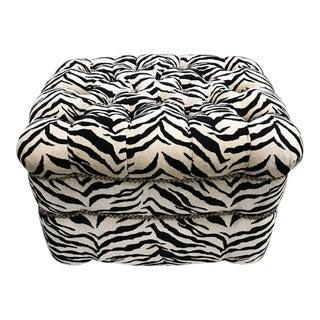 Upholstered Zebra Print Ottoman For Sale