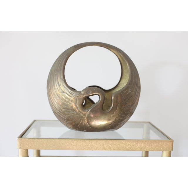 Hollywood Regency Brass Swan Bowl - Image 2 of 4