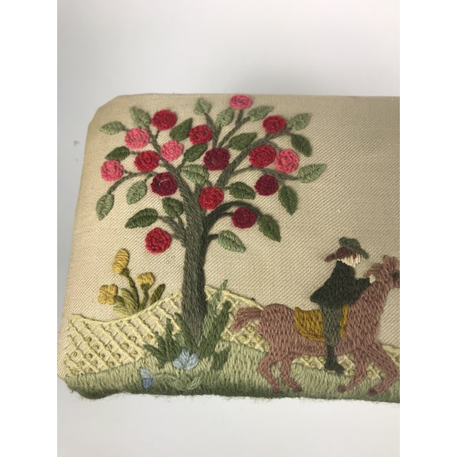 1970s Vintage Handmade Embroidered Foot Stool For Sale - Image 4 of 13