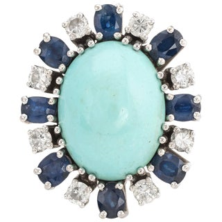 Vintage Turquoise Sapphire Diamond Ring 18 Karat White Gold For Sale