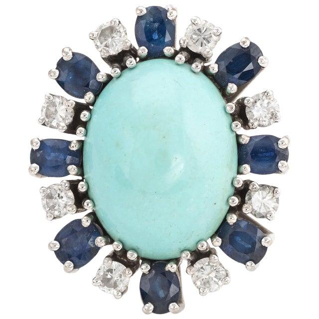 Vintage Turquoise Sapphire Diamond Ring 18 Karat White Gold Estate Fine Jewelry For Sale
